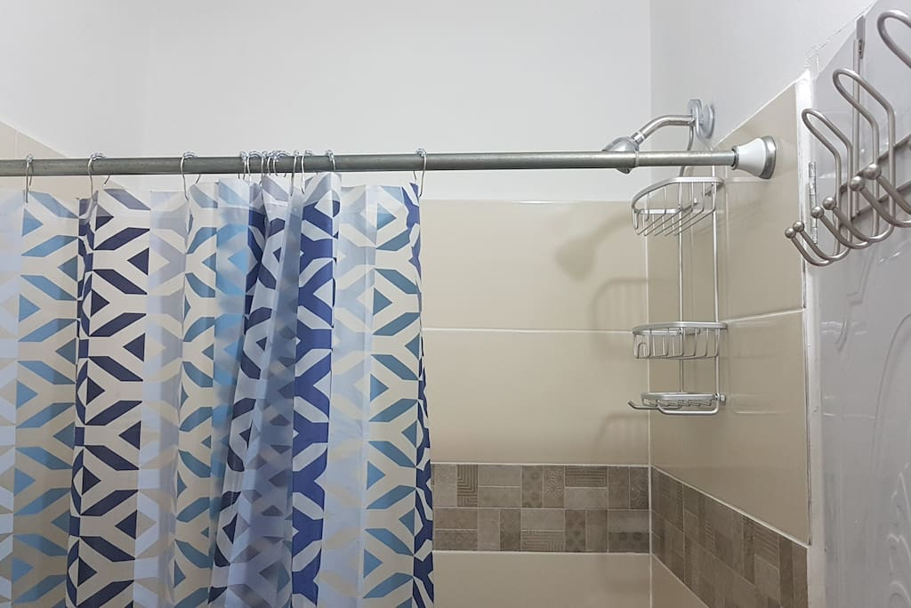 Bathroom shower with hot and cold water