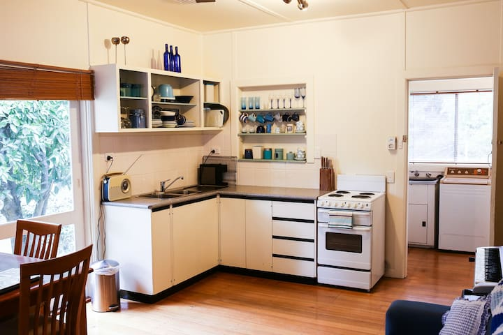 Well equipped kitchenette with coffee machine, pots, pans and the basic cooking essentials like oil, salt peppers etc.