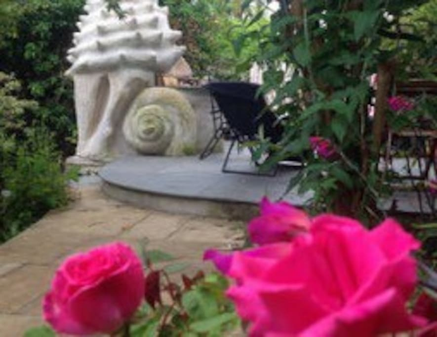 My giant shell sculpture in my garden.