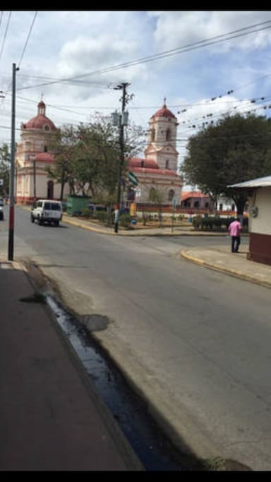 The street the bed and breakfast is on.  Right next to a historical church. San Jeronimo