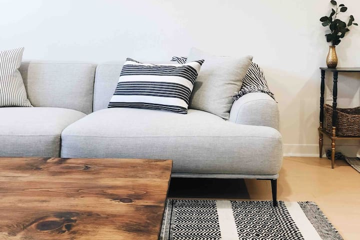Bright, cozy basement apartment with fireplace!