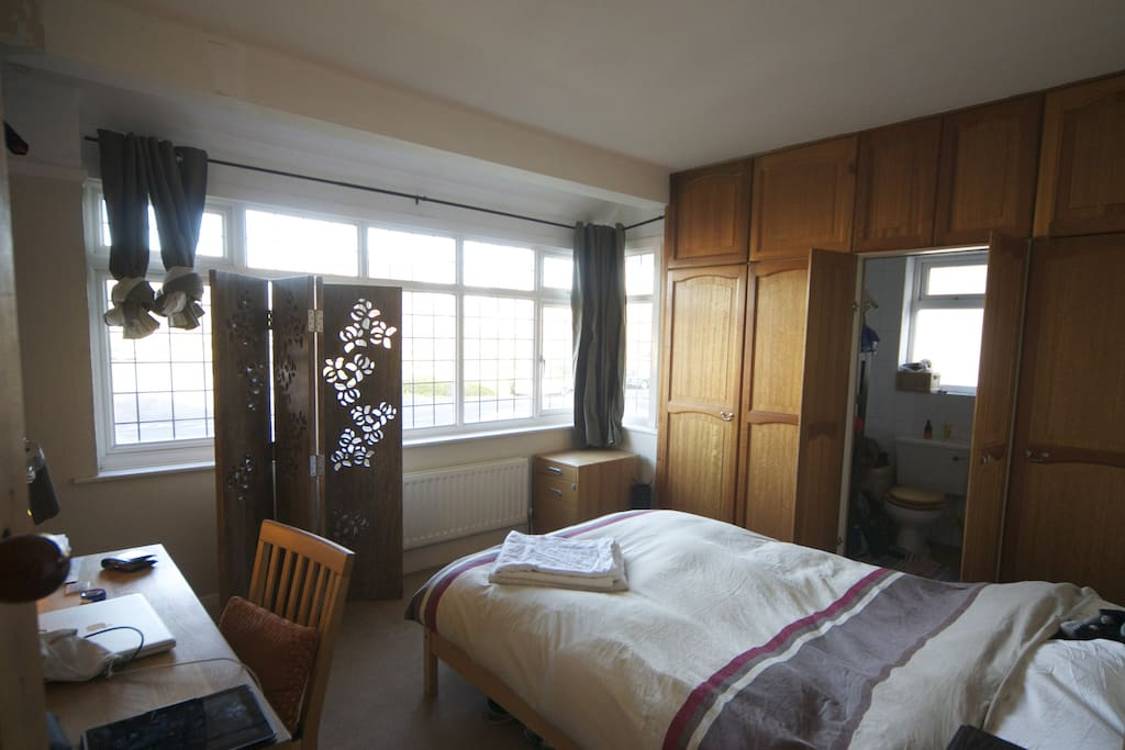 Large ensuite with power shower, solid oak furniture and ample storage space!!