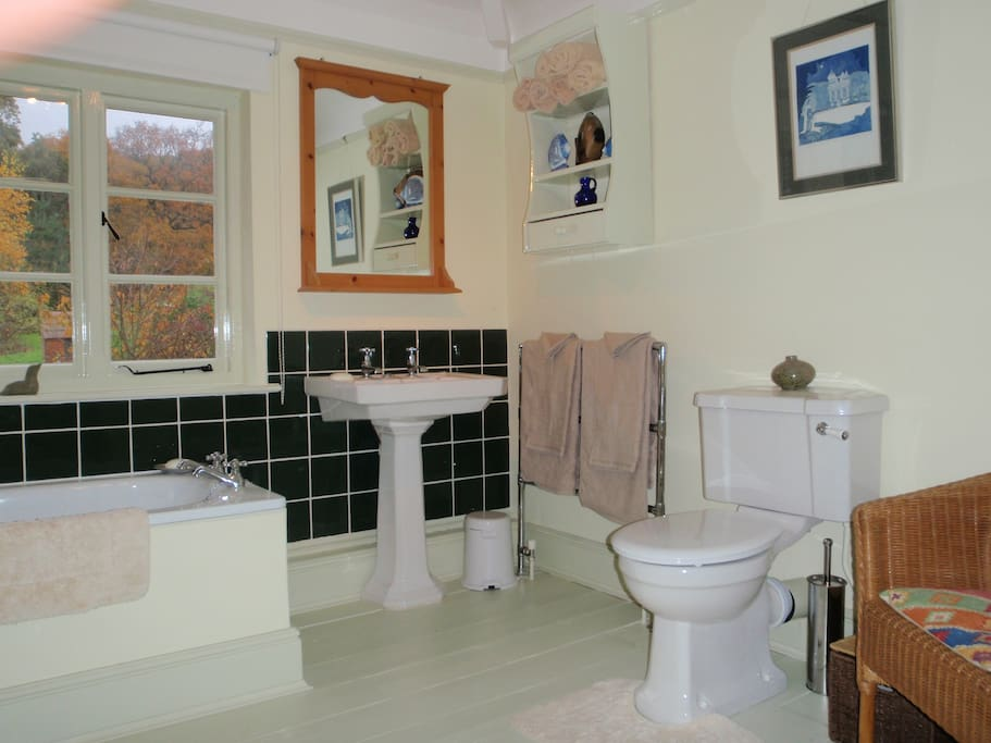 Large private bathroom with bath and shower, towels and toiletries provided.