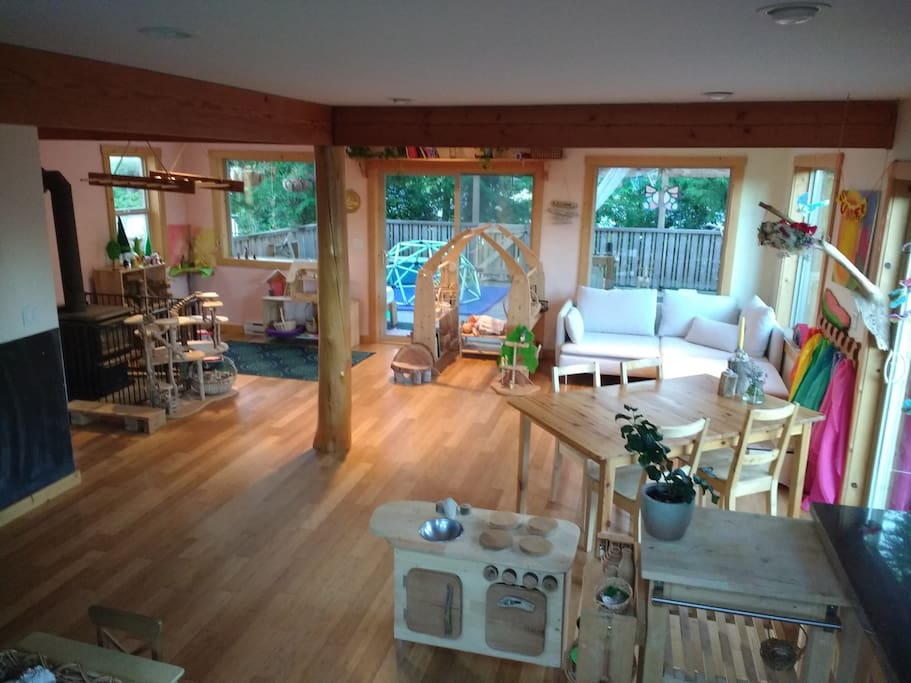 Open living space. Main floor with wrap around covered deck.