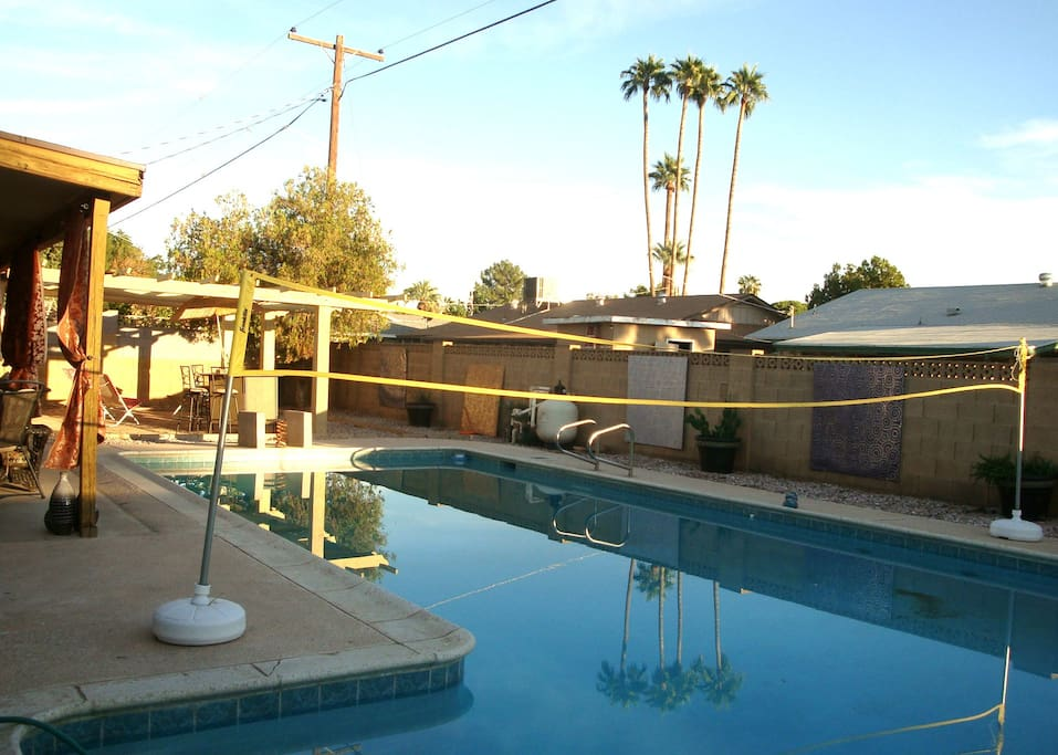 A newly added volleyball net provides for hours of pool fun :-)