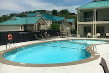 Community pool located across the parking lot