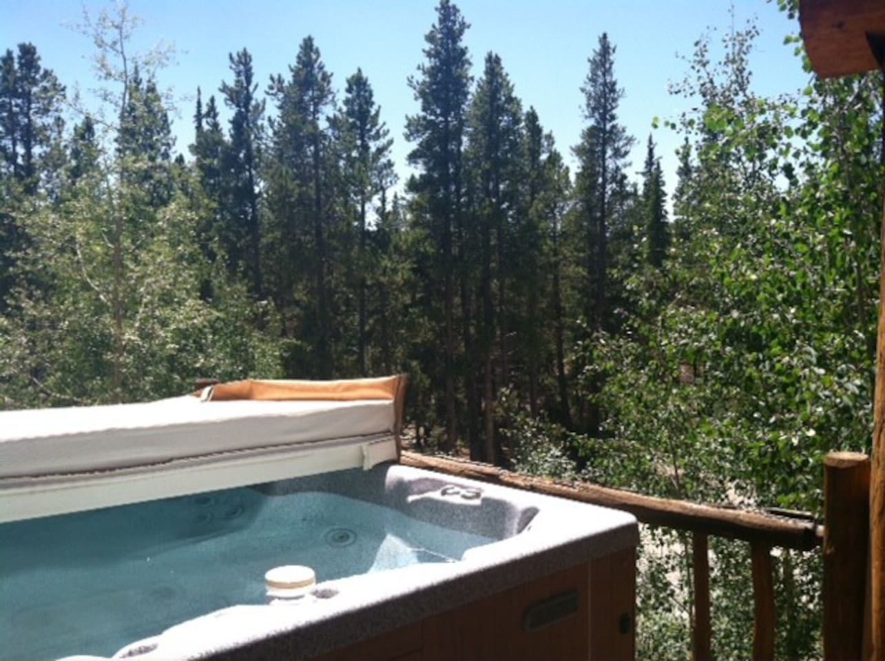 View from hot tub on open deck facing national forest