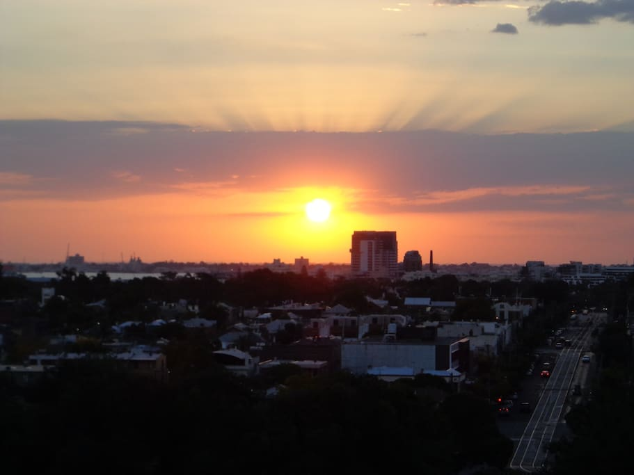 Sunset over Park Street looking towards Port Melbourne