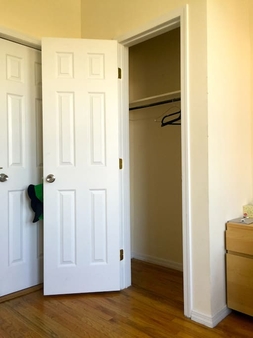The walk-in closet in the room.