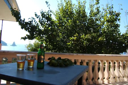Family Sea View studio,shared pool& Free pick up - Agios Gordios - Daire