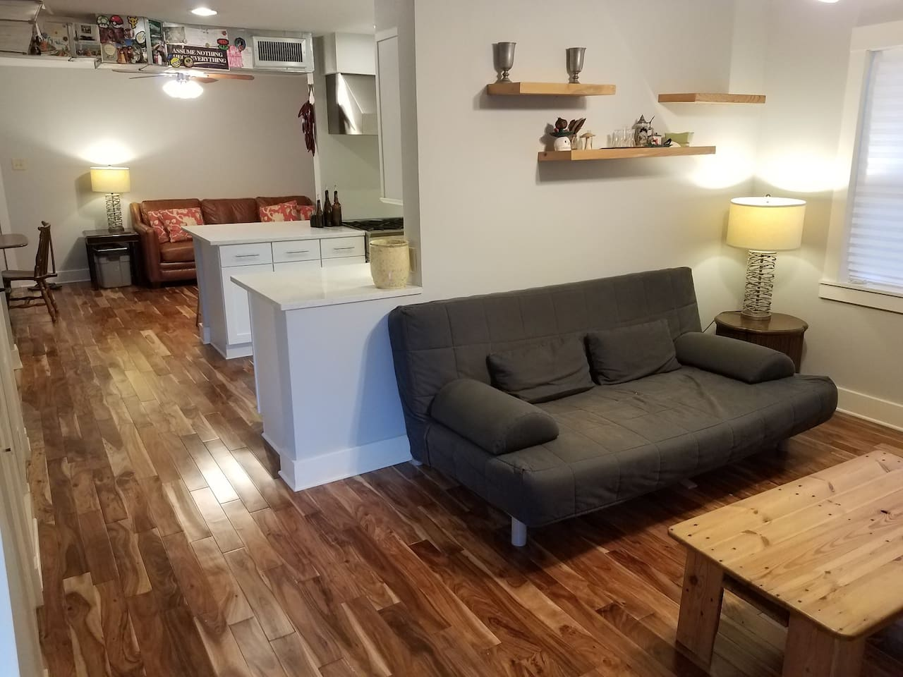 shared living space and kitchen