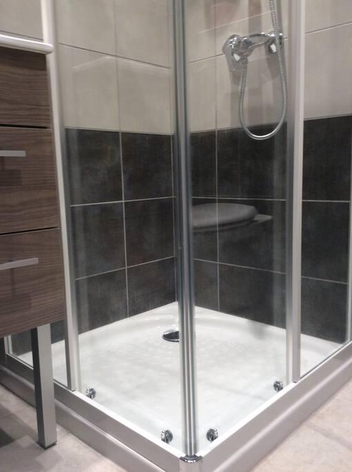 salle d'eau : douche, lavabo, WC