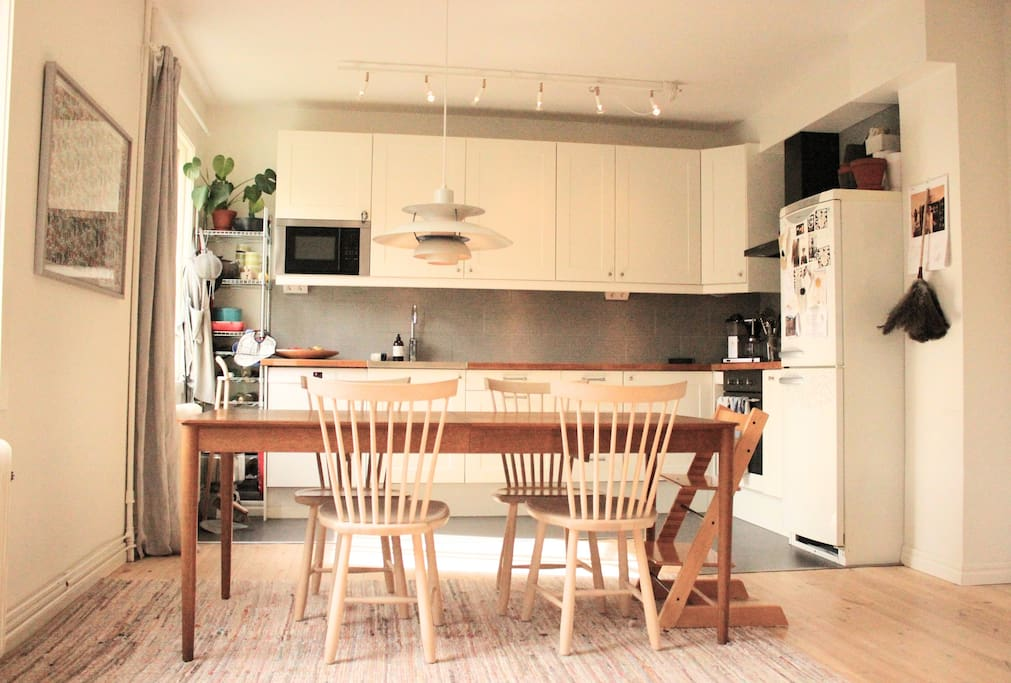 The kitchen table is big and you can easily sit 6-8 persons eating there.