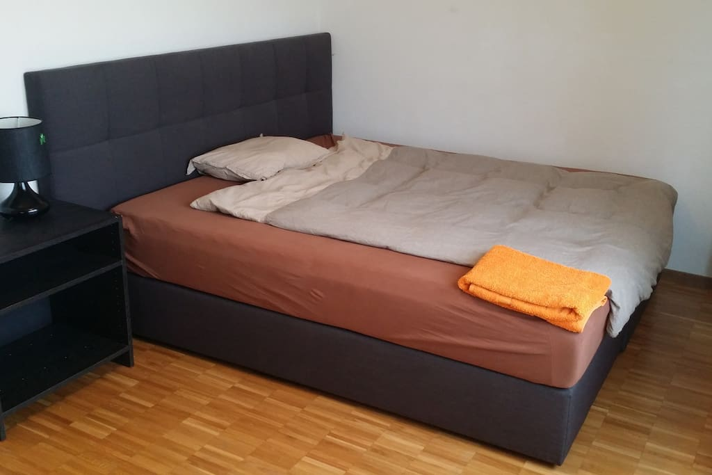 Comfortable memory foam bed with two full bedding upon request.