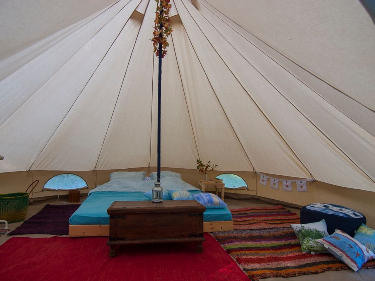 The spacious bell tents are fully furnished with everything you should need for a fun and relaxing holiday