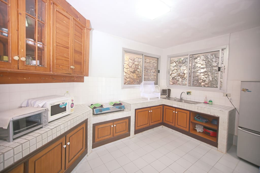 Kitchen equipped with electrical appliances