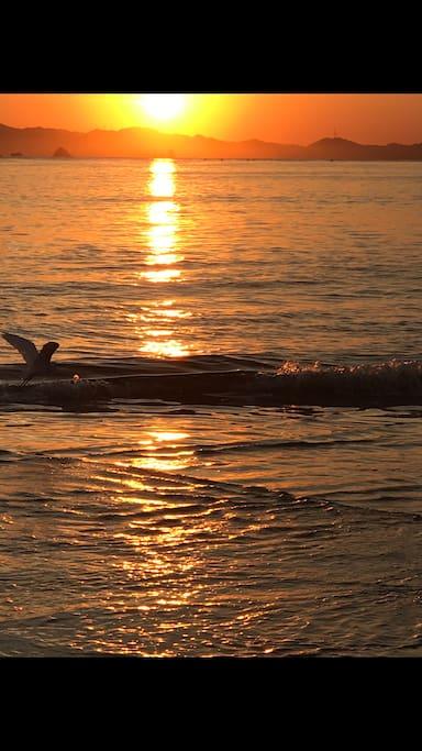 "Sunrise at Playa de Oro. ""Gold Beach"""