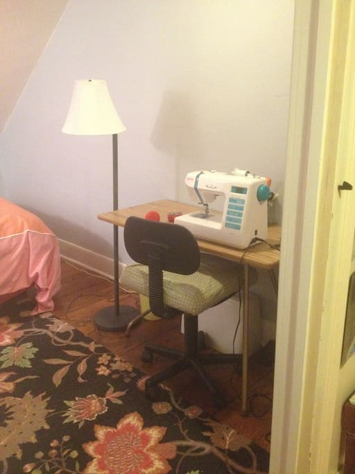 Billie's sewing table also serves as a desk.