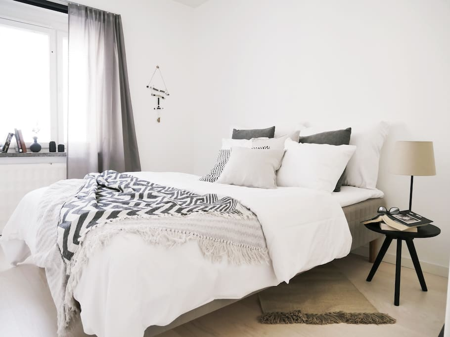 The master bedroom with comfy double bed and block out blinds.
