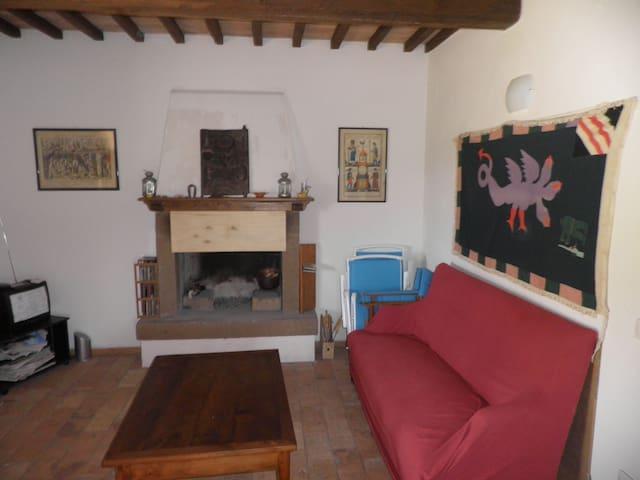 the living room and fireplace/soggiorno e camino