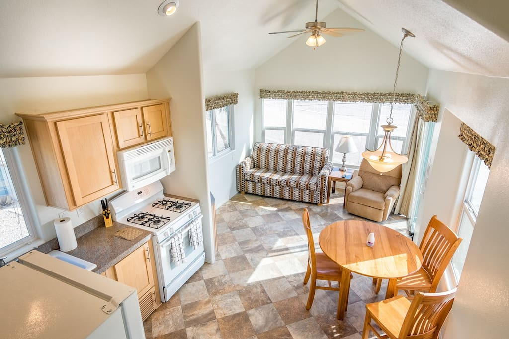 Tiny homes have a pull out couch for extra guests. Bring bedding if you will be using the loft area mattress or the pull out sofa.