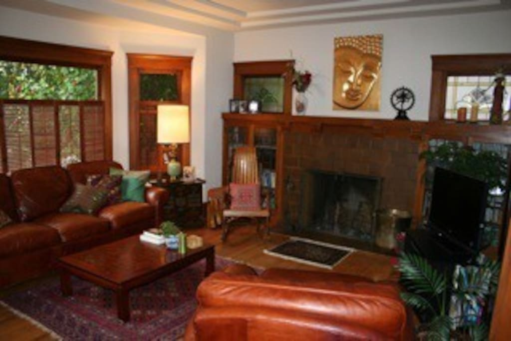 Fireplace, TV, cozy couches