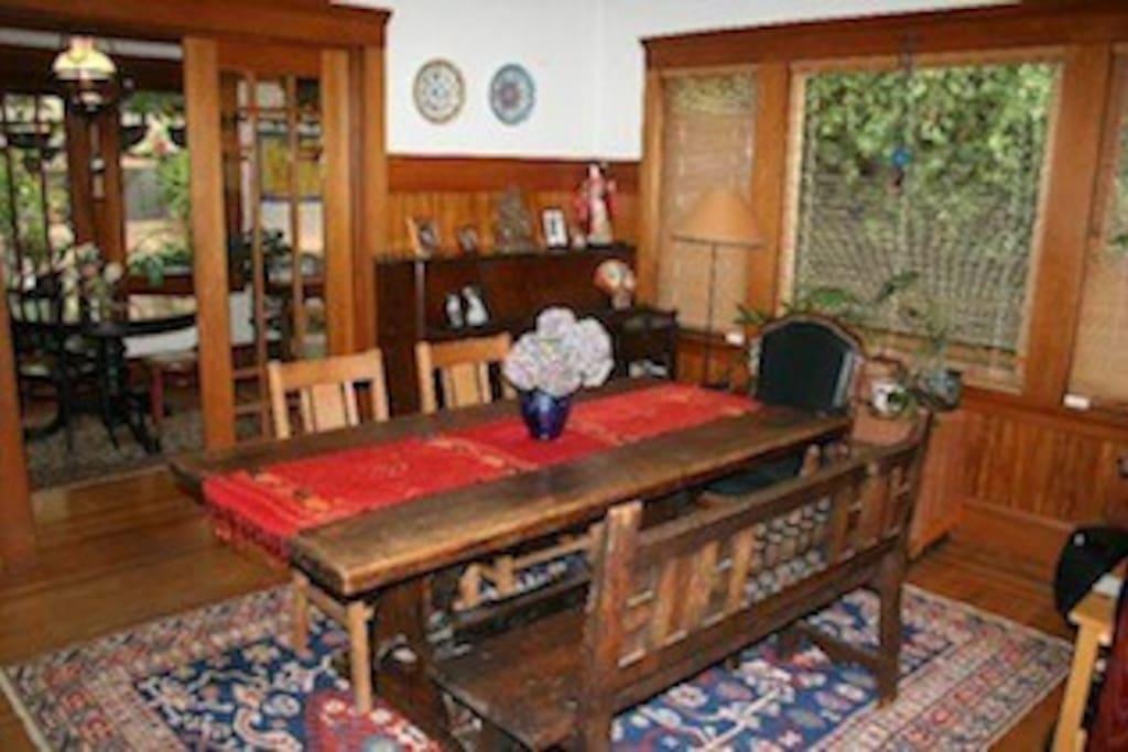 Warm Craftsman details, piano, Turkish rugs