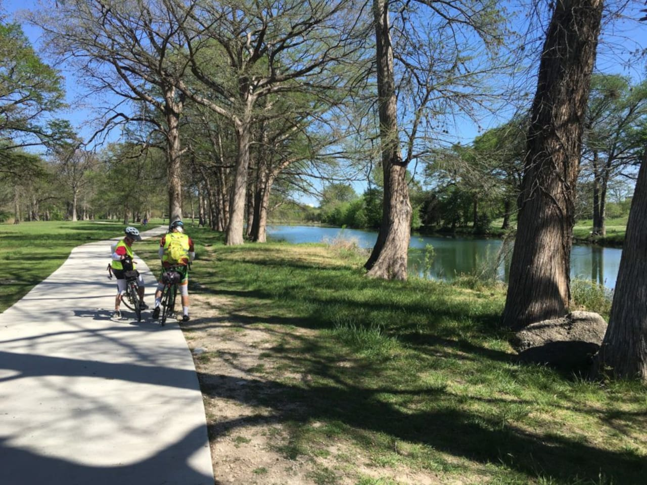 """The River Trail- is """"our back-yard"""".    Great place for kids, bike ridding, fishing or kayaking. Come enjoy all that Kerrville and the Texas Hill Country has to offer .see link https://www.kerrvilletx.gov/1341/River-Trail"""