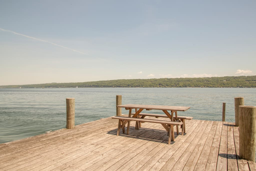 The dock on Cayuga Lake.