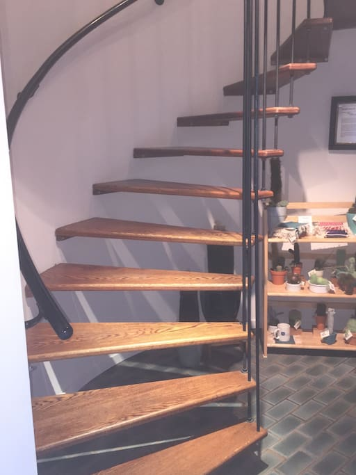 Spiral steps, private and exclusive for Airbnb guests, leading to your room.