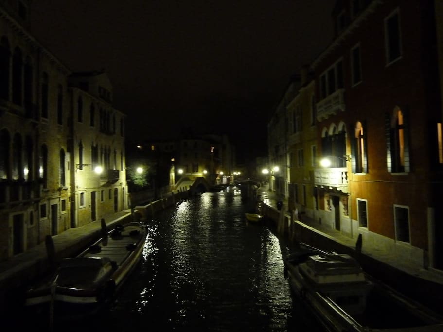 the canal in front of app. by night