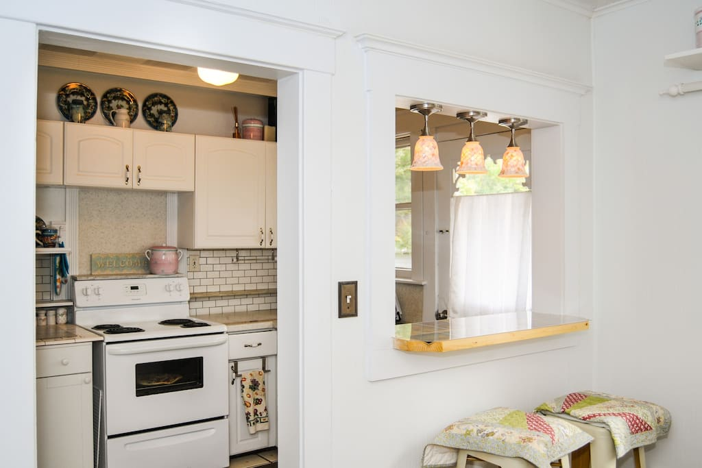 Breakfast nook adds convenience and lighting adds ambience