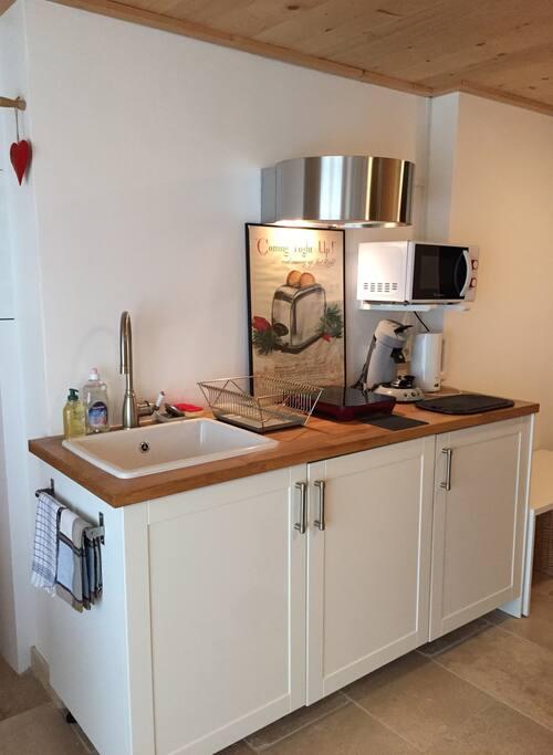 Le petit coin cuisine tout équipé  (plaque à induction, micro-ondes, cuit vapeur, plancha, machine à café expression, bouilloire, grille pain.....).