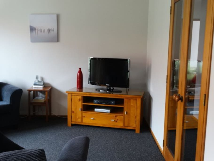 """lounge area 3"""" LCD TV sky and DVD player"""