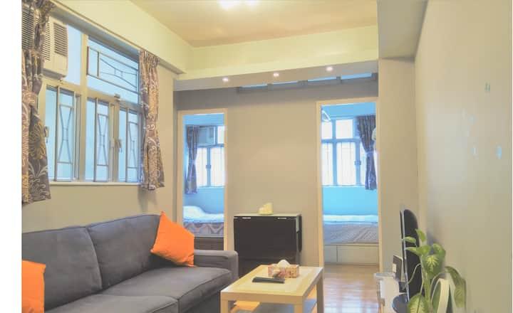 ⭐❤20% OFF 2BR COZY HOME - LONG TERM STAY 旺角地鐵兩房一廳⭐