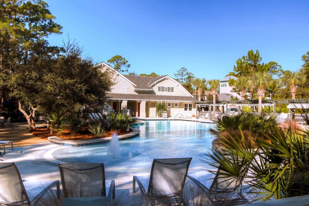 The community pool is nearby with plenty of spots to relax with the family.