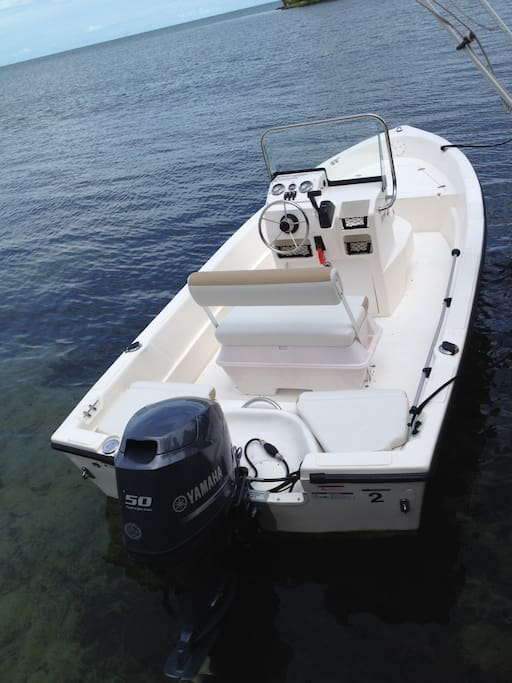 17 foot center console boat with 50HP motor included in this rental.