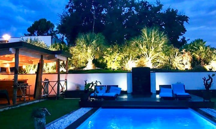 Villa climatisée avec piscine à l'entrée du Pyla