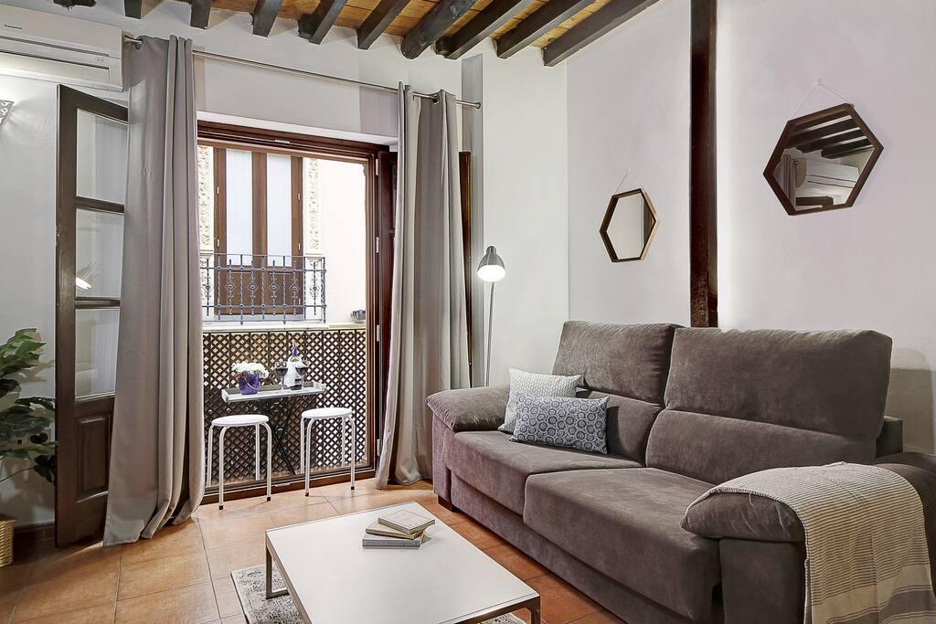Bright Living room(Big Italian sofa bed)