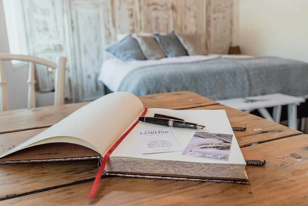 Het gastenboek met mooie ervaringen.