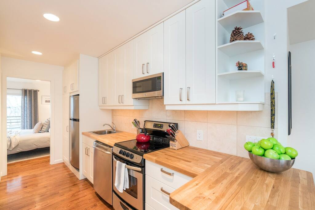 The galley style kitchen is equipped with full sized appliances (no mini anything!) and has everything you need for making home cooked meals.
