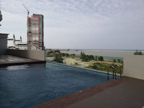 Infinity sea view pool/Beach View/3Rooms/2Parkings