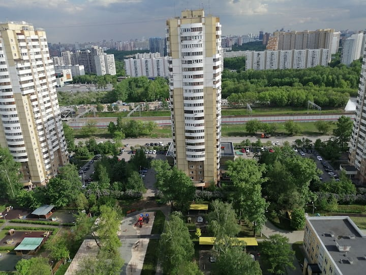 Panoramic apartment (40м2) in 5 minutes to metro