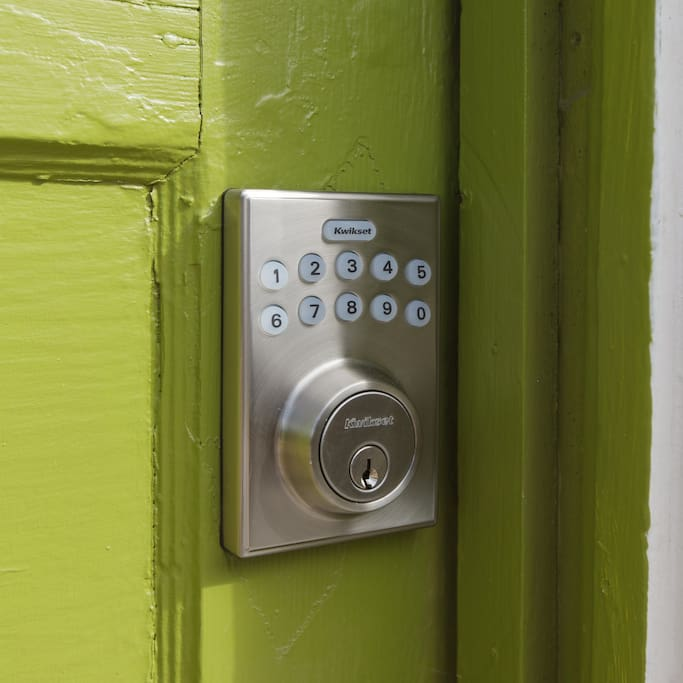 Guests access the apartment via a keypad with a personal code--no keys to keep track of!