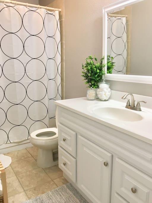 Clean main bathroom with high water pressure