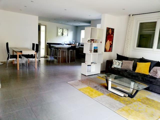 Grande pièce à vivre très lumineuse avec salon, salle à manger et cuisine toute équipée moderne