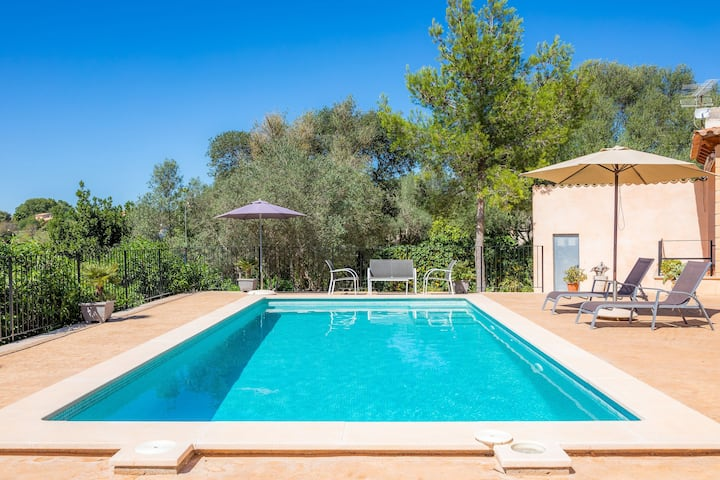 Antique Finca Es Clonenell with Wi-Fi, Garden, Terrace & Pool; Parking Available, Pets Allowed
