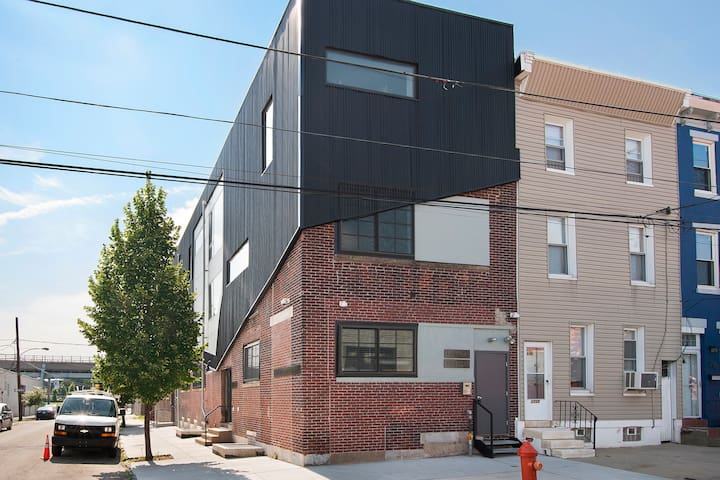This is the outside your apartment, a converted textile factory
