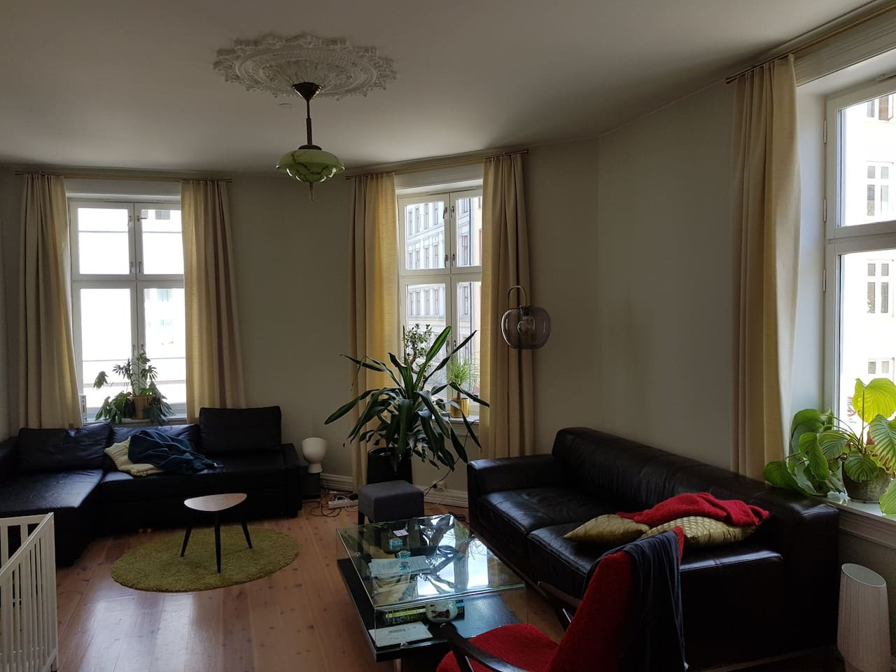 Spacious living room with comfy double sofa bed from Ikea. Coffee table, and additional sofa.  Wood burner in additional to electrical heating.