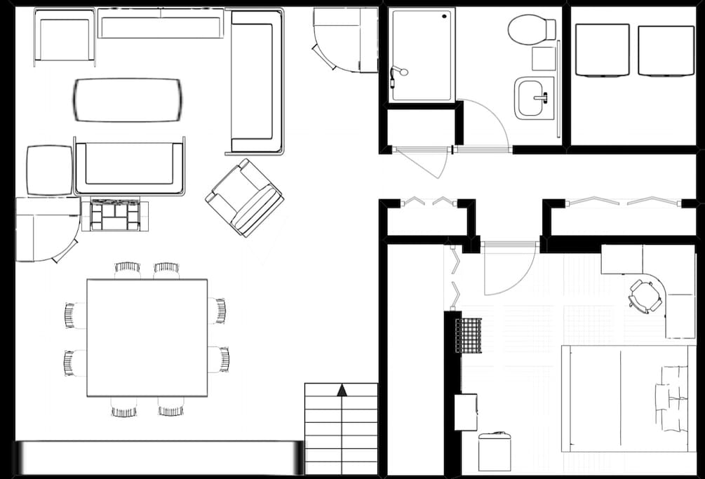 Floor plan of the guest garden level